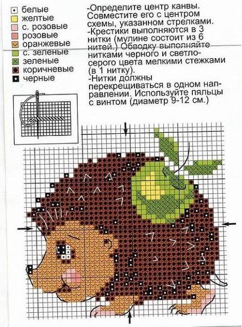 Схема Вышивки Ежика