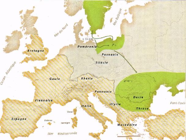 les Goths se seraient implantés en Poméranie au IIe s. Au IIIe s.