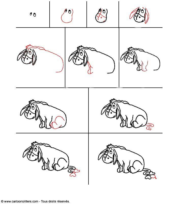 Comment dessiner bourriquet - Comment dessiner winnie l ourson ...