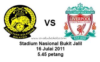 Baru saja berakhir perlawanan Malaysia menentang Liverpool yang