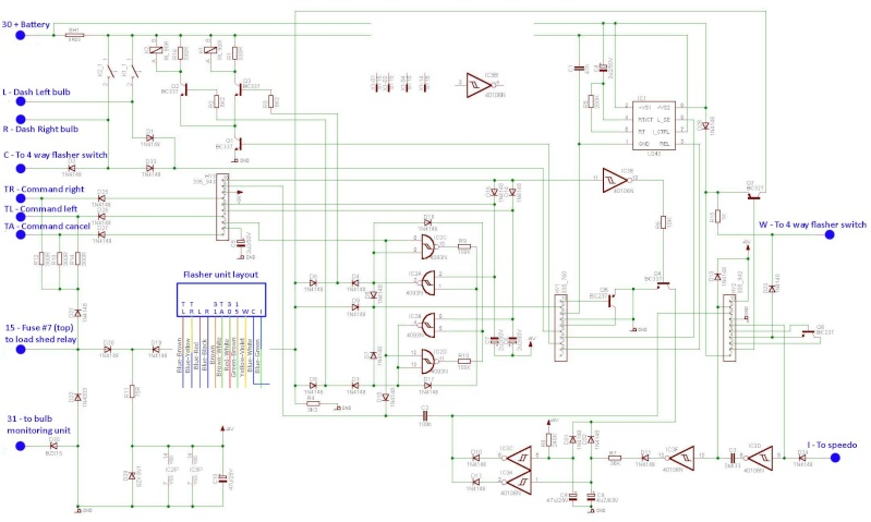 Flasher relay circuit wiring diagram.