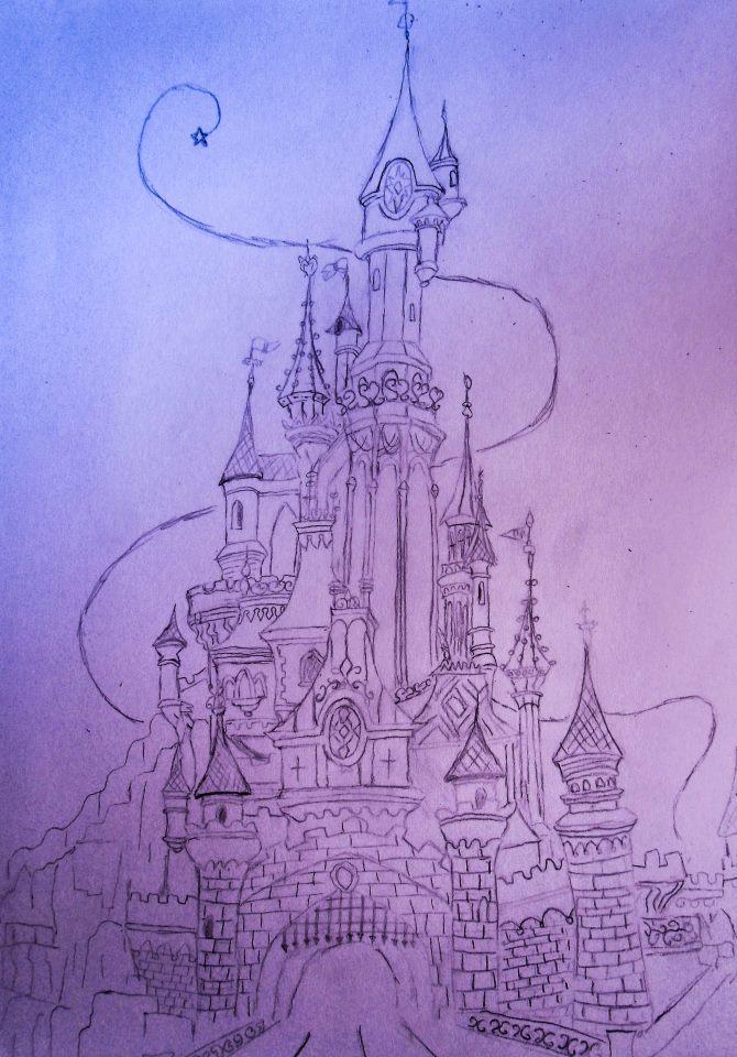 je commence avec deux - Dessin Chateau Disney