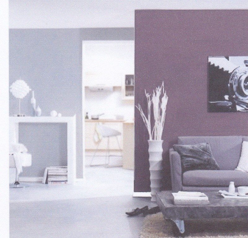 Chambre parentale associations de couleurs aubergine/gris